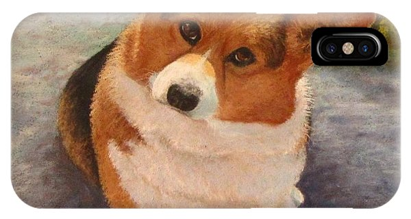 IPhone Case featuring the pastel Corgi Eyes by Serena Dawson