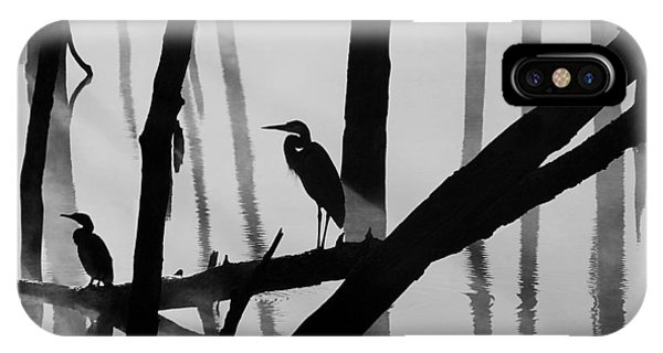 Cormorant And The Heron  Bw IPhone Case