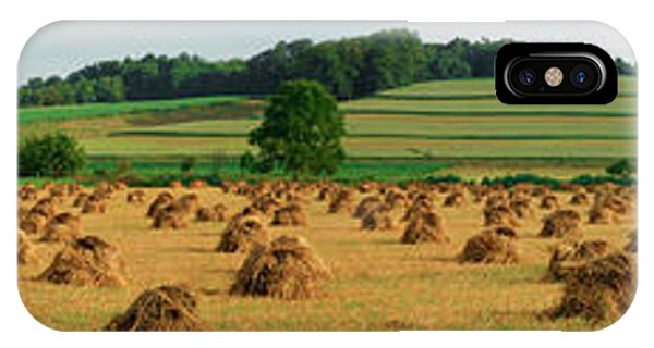 Amish Country iPhone Case - Corn Shocks, Amish Country, Ohio, Usa by Panoramic Images