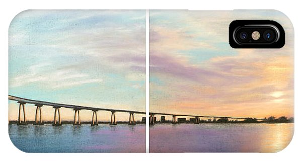 Coronado Bridge Sunset Diptych IPhone Case