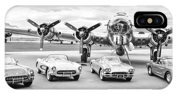Bomber iPhone Case - Corvettes And B17 Bomber -0027bw2 by Jill Reger