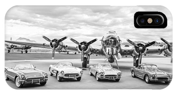 Bomber iPhone Case - Corvettes And B17 Bomber -0027bw45 by Jill Reger
