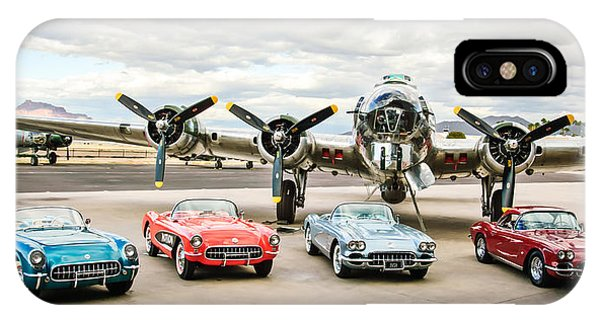Bomber iPhone Case - Corvettes And B17 Bomber -0027c23 by Jill Reger