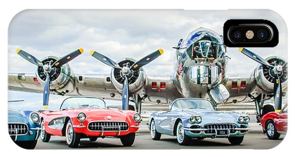 IPhone Case featuring the photograph Corvettes With B17 Bomber by Jill Reger