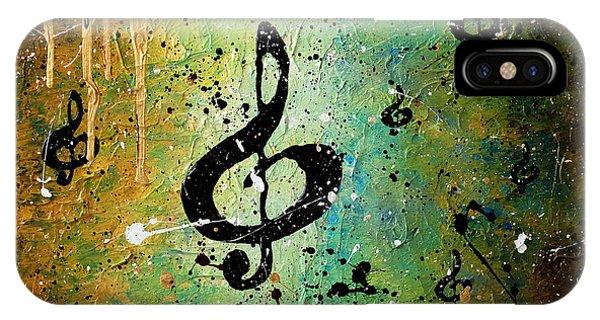 Trombone iPhone X Case - Cosmic Jam by Carmen Guedez