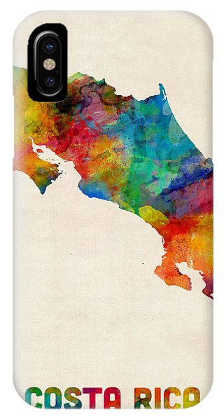 Print iPhone Case - Costa Rica Watercolor Map by Michael Tompsett