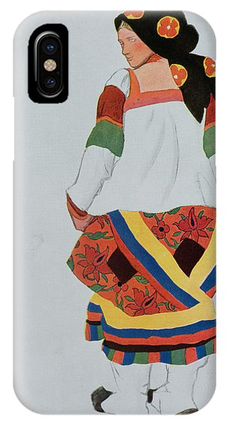 Dance iPhone Case - Costume Design For A Peasant Girl, 1922 by Leon Bakst