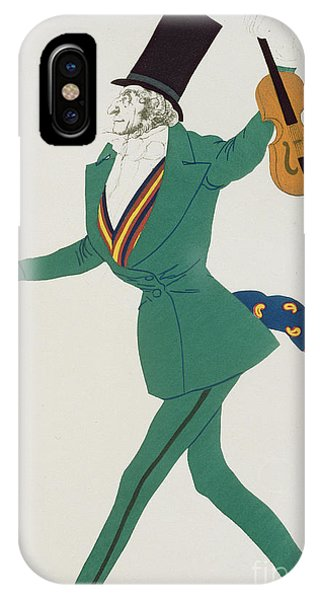 Violin iPhone X Case - Costume Design For Paganini In The Enchanted Night by Leon Bakst