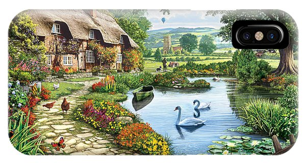 Swan iPhone Case - Cottage By The Lake by MGL Meiklejohn Graphics Licensing