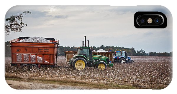 Cotton Harvest With Machinery In Cotton Field IPhone Case