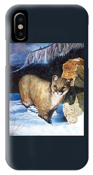 Cougar In Snow IPhone Case