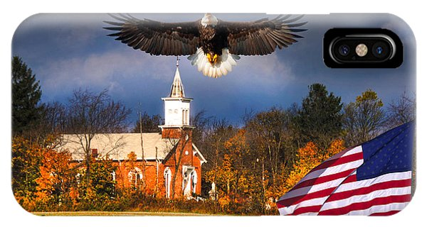 country Eagle Church Flag Patriotic IPhone Case