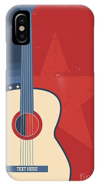 Musical iPhone Case - Country Music Poster With Guitar On Old by Tancha