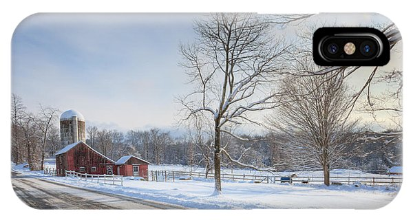 New England Barn iPhone Case - Country Roads Winter by Bill Wakeley