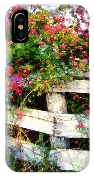 Country Rose On A Fence 3 IPhone Case