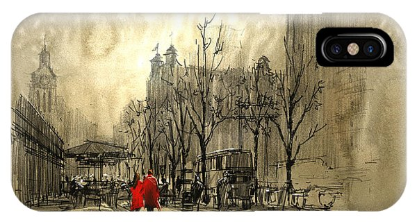 iPhone Case - Couple In Red Walking On Street Of by Tithi Luadthong