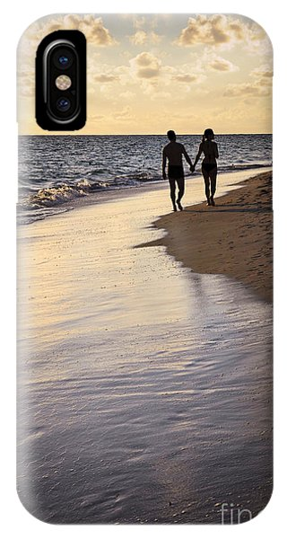 Valentines Day iPhone Case - Couple Walking On A Beach by Elena Elisseeva