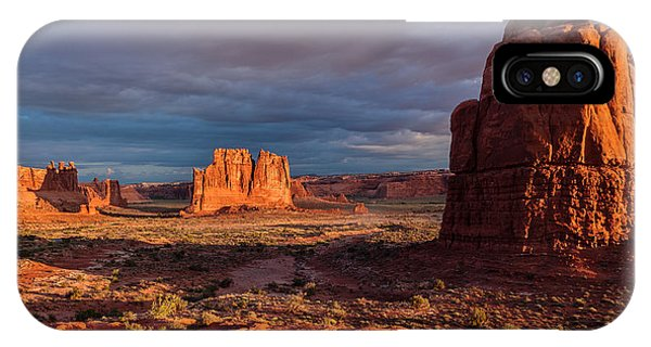 Courthouse Towers View At Sunrise Phone Case by Karma Boyer