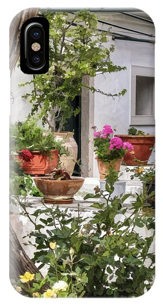 IPhone Case featuring the photograph Painted Effect - Courtyard by Susan Leonard