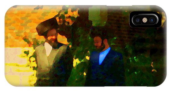 Covenant Conversation Two Men Of God Hasidic Community Montreal City Scene Rabbinical Art Carole Spa IPhone Case