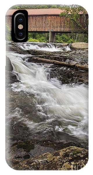 Scenic New England iPhone Case - Covered Bridge And Waterfall by Edward Fielding