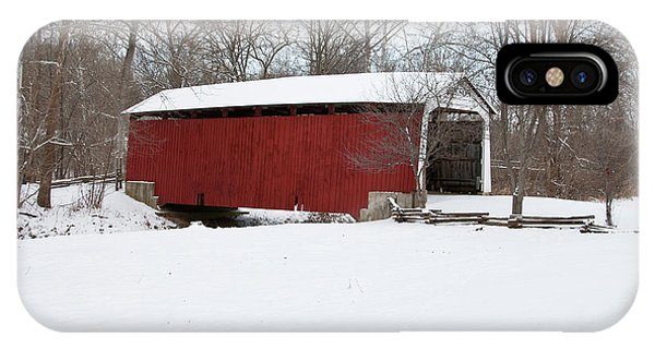 Covered Bridge In Snow Covered Forest IPhone Case
