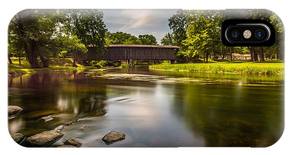 Creek iPhone Case - Covered Bridge Long Exposure by Randy Scherkenbach