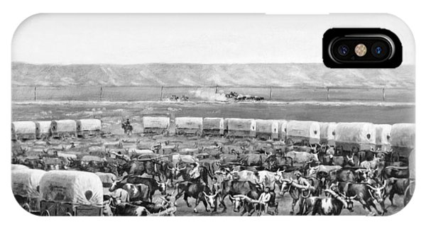 Nebraska iPhone Case - Covered Wagon Corral by W. H. Jackson