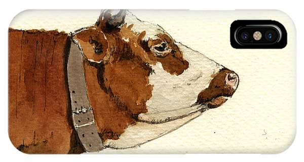 Art Cow iPhone Case - Cow Head Study Drawing by Juan  Bosco