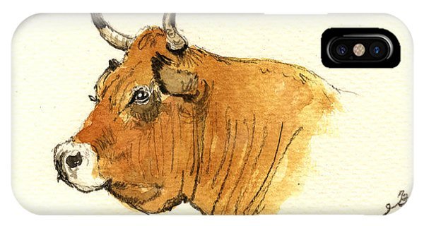 Bull iPhone Case - Cow Head Study by Juan  Bosco