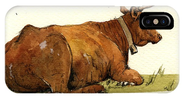 Bull Art iPhone Case - Cow In The Grass by Juan  Bosco