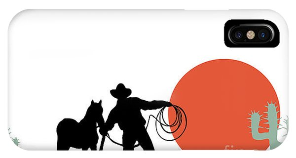Ranch iPhone Case - Cowboy And Hors Silhouettes by Trendywest