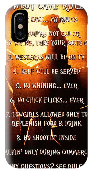 Cowboy Cave Rules By Lincoln Rogers IPhone Case