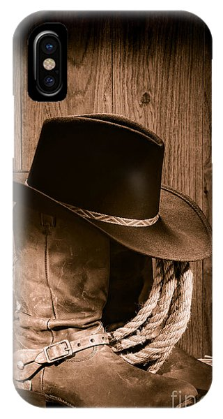 Texas iPhone Case - Cowboy Hat And Boots by Olivier Le Queinec