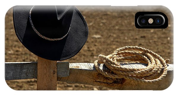 Farm Tool iPhone Case - Cowboy Hat And Rope On Fence by Olivier Le Queinec
