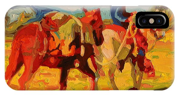 Cowboy Art Cowboy Leading Pack Horse Painting Bertram Poole IPhone Case