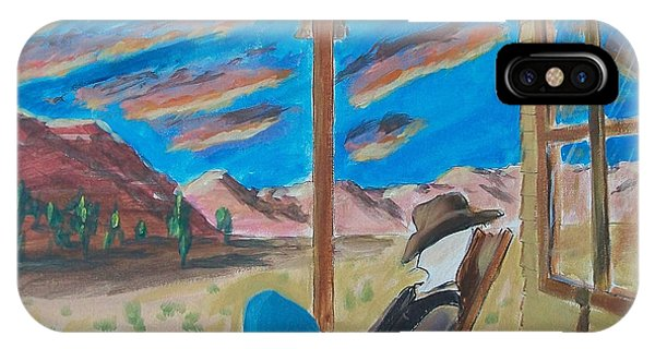 Cowboy Sitting In Chair At Sundown IPhone Case