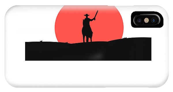Horizontal iPhone Case - Cowboy With A Gun On A Horse In The by Vlwashington