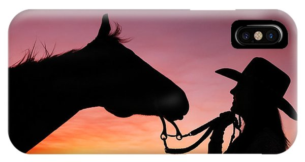 Horse iPhone X Case - Cowgirl Sunset by Todd Klassy