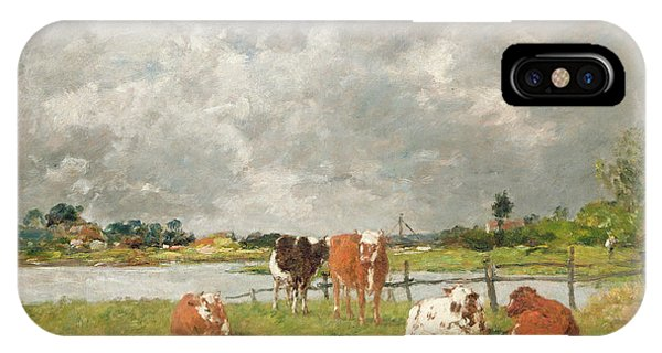 1877 iPhone Case - Cows In A Field Under A Stormy Sky, 1877 by Eugene Louis Boudin