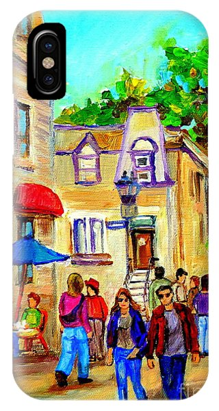 Table For Two iPhone Case - Cozy Dinner Under Blue Umbrella Summer Stroll Prince Arthur Montreal Paintings Carole Spandau by Carole Spandau