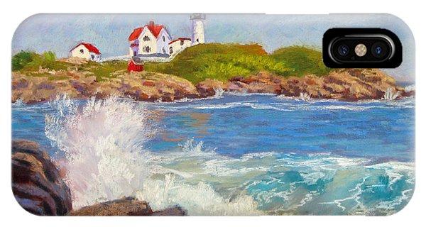 Cape Neddick Lighthouse iPhone Case - Crashing At Nubble Light by Jason Walcott