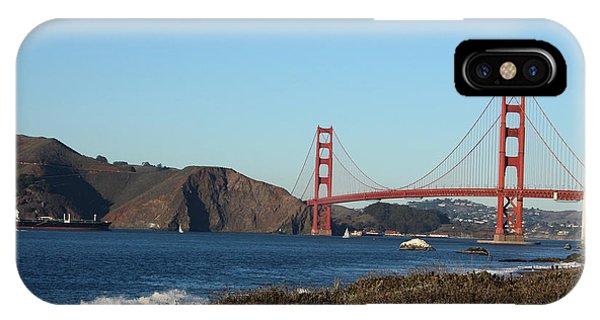 San Francisco iPhone Case - Crashing Waves And The Golden Gate Bridge by Linda Woods