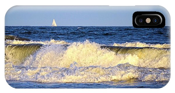 Crashing Waves And White Sails IPhone Case