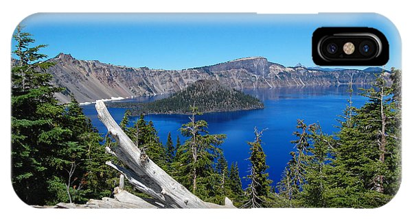 Crater Lake And Fallen Tree IPhone Case