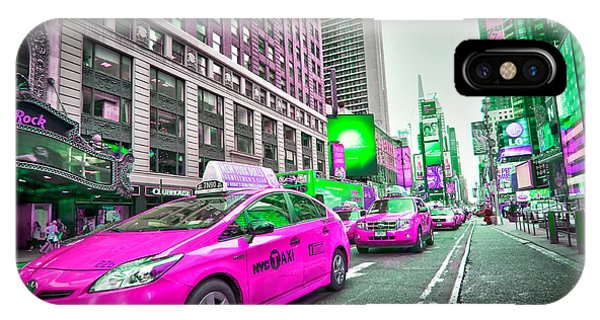New York City Taxi iPhone Case - Crazy Cabs In Manhattan by Delphimages Photo Creations