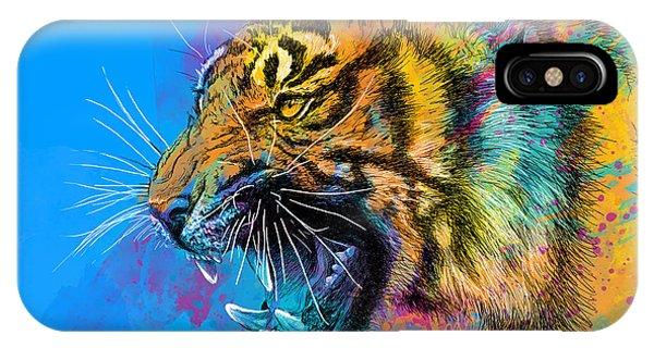 Digital iPhone Case - Crazy Tiger by Olga Shvartsur