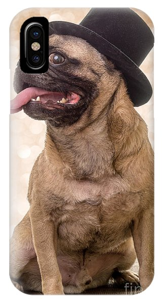 Pug iPhone X Case - Crazy Top Dog by Edward Fielding