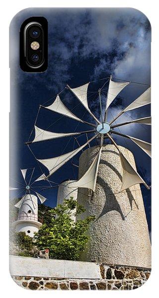 Greece iPhone X Case - Creton Windmills by David Smith