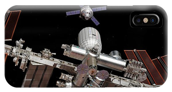 International Space Station iPhone Case - Crew Exploration Vehicle Approaching Iss by Walter Myers/science Photo Library